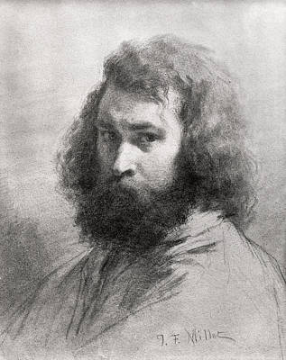 Painter Photograph - Self Portrait, C.1845-46 Charcoal And Pencil On Paper Bw Photo by Jean-Francois Millet