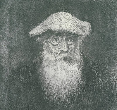 White Beard Drawing - Self Portrait  by Camille Pissarro