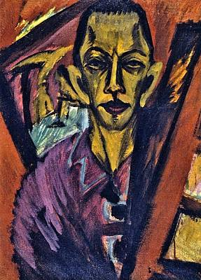 Berlin Germany Painting - Self-portrait by Ernst Ludwig Kirchner