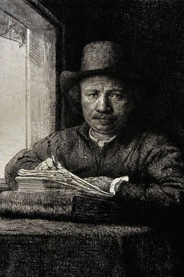 Holland Drawing - Self-portrait Etching At A Window by Rembrandt