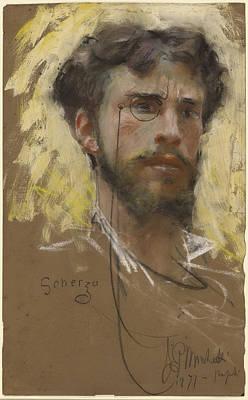 Self-portrait Drawing - Self-portrait Francesco Paolo Michetti, Italian by Litz Collection