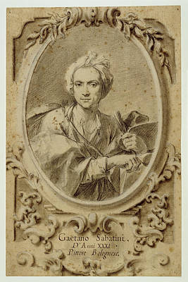 Self-portrait Drawing - Self-portrait Gaetano Sabatini, Italian by Litz Collection