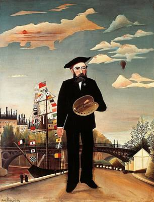 Artist At Work Painting - Self Portrait by Henri Rousseau