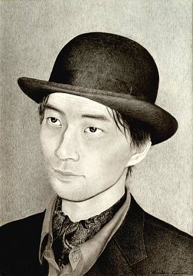 Hyper-realism Drawing - Self Portrait by Hirokazu Tomimasu