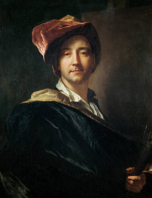 Painter Photograph - Self Portrait In A Turban, 1700 Oil On Canvas by Hyacinthe Francois Rigaud