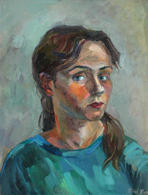 Painting - Self Portrait In A Turquoise by Juliya Zhukova
