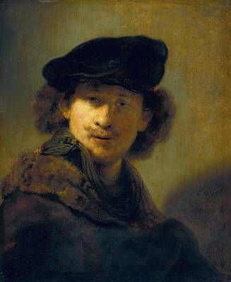 Self-portrait In A Velvet Beret Art Print by Rembrandt van Rijn