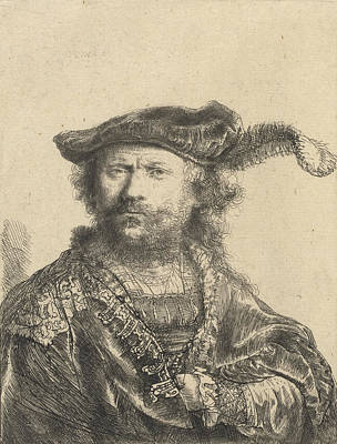Pen And Paper Drawing - Self Portrait In A Velvet Cap With Plume by Rembrandt