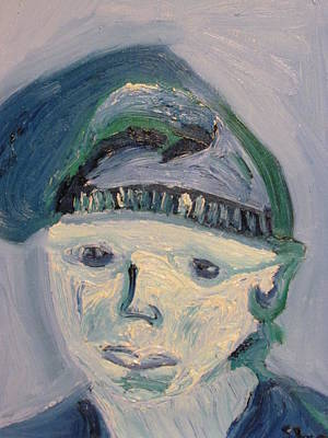 Art Print featuring the painting Self Portrait In Blue And Green by Shea Holliman