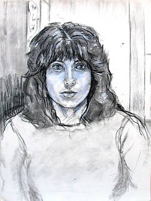 Drawing - Self Portrait In Charcoal And Chalk by Anita Dale Livaditis