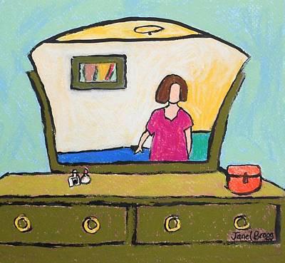 Self-portrait Mixed Media - Self Portrait In Front Of Dresser Mirror by Janel Bragg