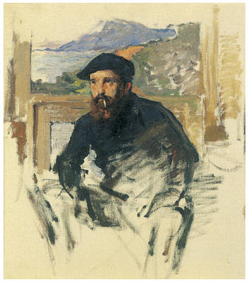 Self-portrait In His Atelier Art Print by Claude Monet