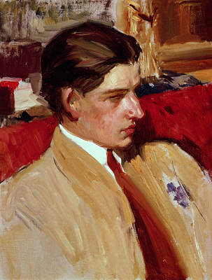 Youthful Painting - Self Portrait In Profile by Joaquin Sorolla y Bastida