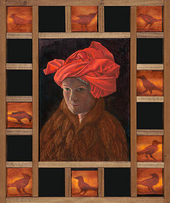 Art Print featuring the painting Self-portrait In The Red Turban by Alla Parsons