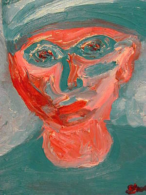 Art Print featuring the painting Self Portrait In Turquoise And Rose by Shea Holliman