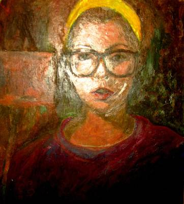 Painting - Self Portrait In Yellow Headband by Anita Dale Livaditis