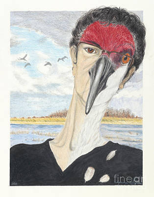 Wetlands Drawing - Self Portrait  Morphing At Crex Meadows by Jymme Golden