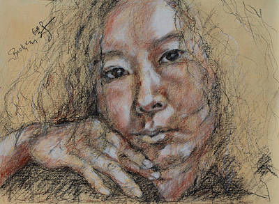 Drawing - Self Portrait Of Becky Kim 2014 02 by Becky Kim