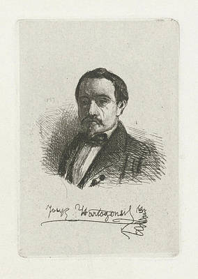 Self-portrait Drawing - Self Portrait Of Joseph Hartogensis, Print Maker Joseph by Joseph Hartogensis