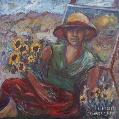 Painting - Self Portrait On A Picnic Table by Avonelle Kelsey