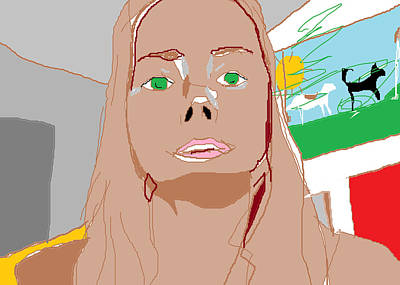 Self Portrait On Computer Art Print
