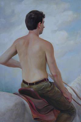 Art Print featuring the painting Self-portrait On Horseback by Svitozar Nenyuk