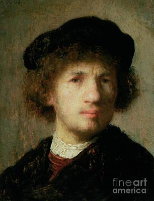 Ruff Painting - Self Portrait by Rembrandt Harmenszoon van Rijn