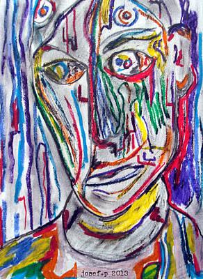 Artist Working Photograph - Self Portrait  Thinking Commonwealth by Sir Josef - Social Critic -  Maha Art