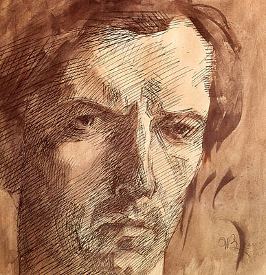 Signed Drawing - Self Portrait by Umberto Boccioni