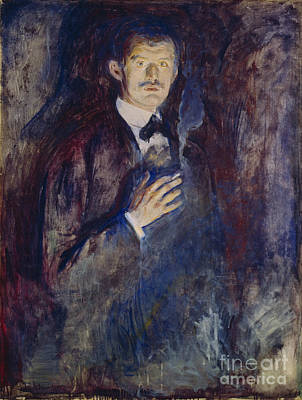 Artist Self Portrait Painting - Self-portrait With A Cigarette by Edvard Munch