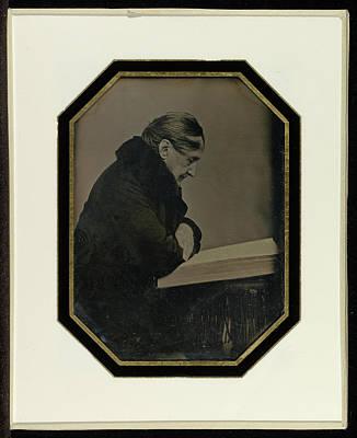 Self-portrait Drawing - Self-portrait With A Folio Volume Jean-gabriel Eynard by Litz Collection