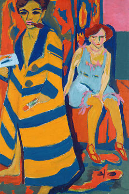 Expressionistic Painting - Self Portrait With A Model by Ernst Ludwig Kirchner