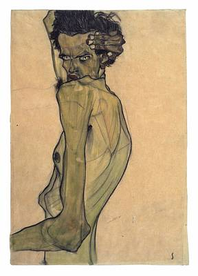 Nudes Royalty-Free and Rights-Managed Images - Self-Portrait with Arm Twisted Above Head by Egon Schiele
