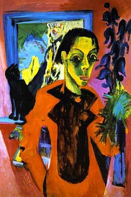 Cambridge Painting - Self Portrait With Cat by Ernst Ludwig Kirchner