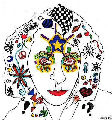 Drawing - Self Portrait With Designs by Christine Perry