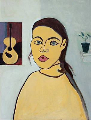 Warm Colors Drawing - Self Portrait With Painting Of Guitar by Anita Dale Livaditis