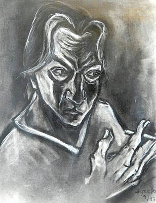 Art Print featuring the drawing Self-portrait With Hand Holding Cigarette by Kenneth Agnello