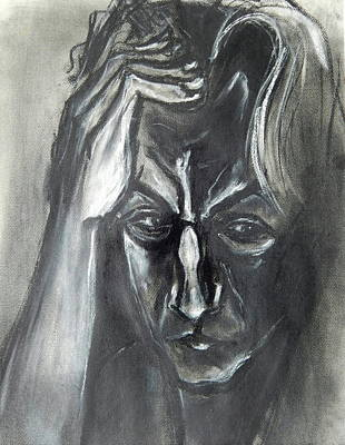 Art Print featuring the drawing Self-portrait With Hand On Head - 1983 by Kenneth Agnello