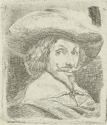 Self-portrait Drawing - Self Portrait With Hat, Jan Van Ossenbeeck by Jan Van Ossenbeeck
