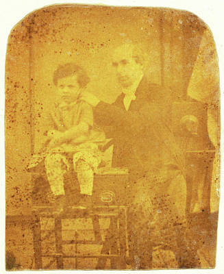 Self-portrait Drawing - Self-portrait With His Son Louis, Eduard Isaac Asser by Artokoloro