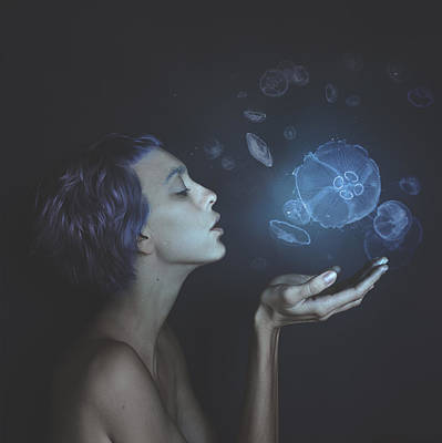 Blue Photograph - Self-portrait With Jellyfishes by Anka Zhuravleva