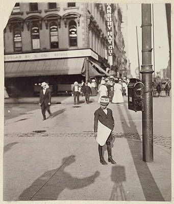Self-portrait Drawing - Self-portrait With Newsboy Lewis W. Hine by Litz Collection