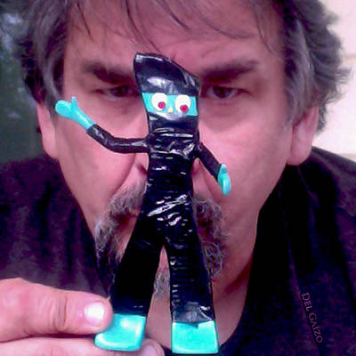Self Portrait With Ninja Gumby Art Print by Del Gaizo