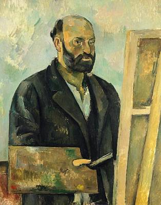 Artist At Work Painting - Self Portrait With Palette by Paul Cezanne