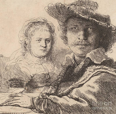 Pen And Paper Drawing - Self Portrait With Saskia by Rembrandt