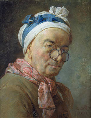Painter Photograph - Self Portrait With Spectacles, 1771 Pastel On Paper by Jean-Baptiste Simeon Chardin