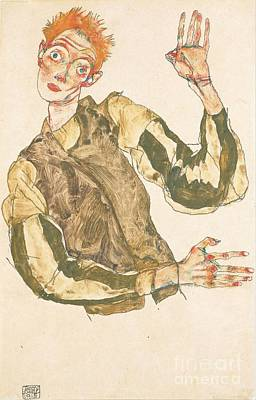 Self Portrait With Striped Armlets Art Print by Pg Reproductions