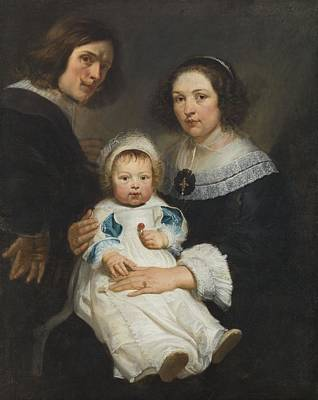 Catherine Photograph - Self Portrait With Wife Catherine De Hemerlaer And Son Jan Erasmus Quellinus, 1635-36 Oil On Canvas by Erasmus Quellinus
