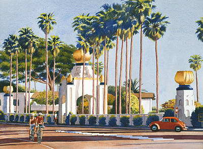 Palm Trees Painting - Self Realization Fellowship Encinitas by Mary Helmreich