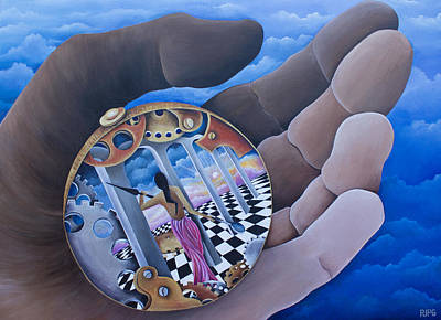 Checkerboard Floor Painting - Self Rumination by Pamela  Perran-Gosnell